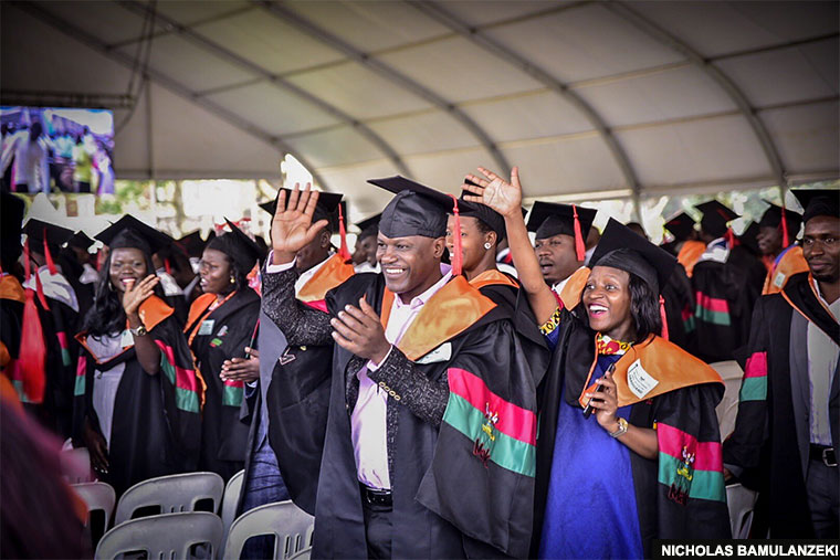 Makerere graduands in their gowns on Tuesday