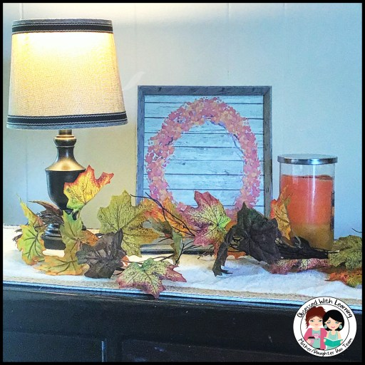 Fall Décor Lighted Lamp Autumn Leaves Orange Candle Fall Poster