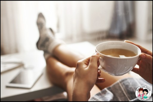 Teacher Relaxing and Drinking a Cup of Tea in the Fall