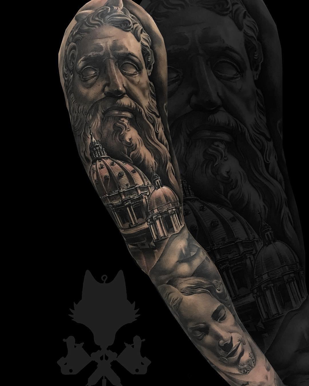 Tatuaje Zeus Estatua Arquitectura Realismo Blancoynegro Hombre Brazo
