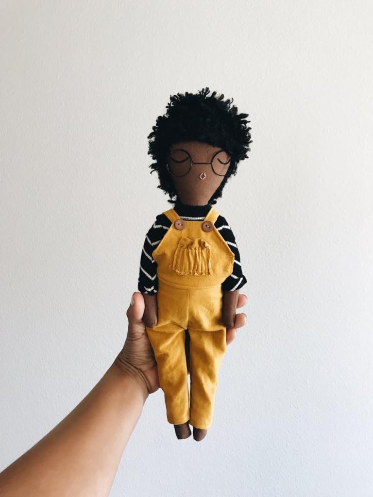 Girl Mustard Corduroy Overalls, Mecharis Dolls