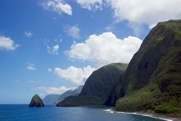 Disappearing below the towering sea cliffs of Molokai