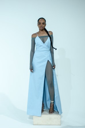 2. OFF THE SHOULDER MESH JUMPSUIT WITH SHIRTING WRAP DRESS