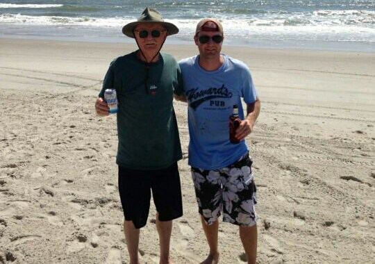 Jamie Trent (right) and his dad pictured on the Outer Banks this summer.