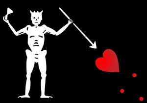 """The flag of Blackbeard's infamous ship, """"The Queen Anne's Revenge""""."""