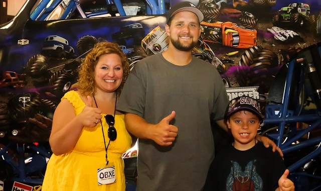 Son-uva Digger Monster Jam driver Ryan Anderson with Sue and Ozzie Artz of OBX Entertainment, on location at the home of Grave Digger in Currituck on June 6, 2015. (photo by Matt Artz for OBXentertainment.com)