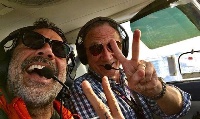 'The Walking Dead' star Jeffrey Dean Morgan with Outer Banks Airlines owner/pilot Charlie Snow.