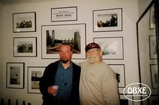 Matt Artz and Glenn Eure at the Ghost Fleet Gallery Centennial of Flight exhibit opening in December 2003. (Photo by Chip Artz)