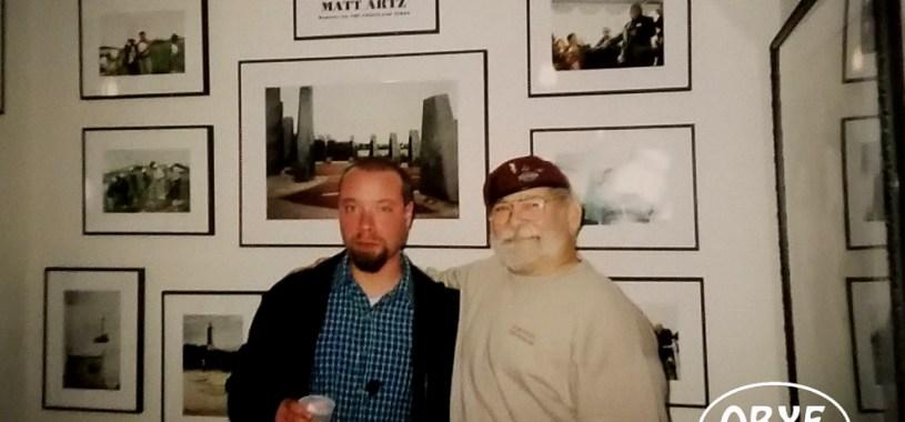 Matt Artz and Glenn Eure at the Ghost Fleet Gallery Centennial of Flight exhibit opening in December 2003. (Photo by Chip Artz)