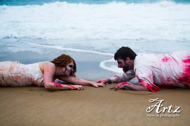 Zombie Honeymoon Halloween Portraits by Artz Music & Photography (OBXFamilyBeachPortraits.com)
