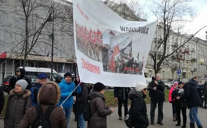 Transparent Warszawa zhańbiona został zatrzymany przez policję 11 listopada 2017 r.