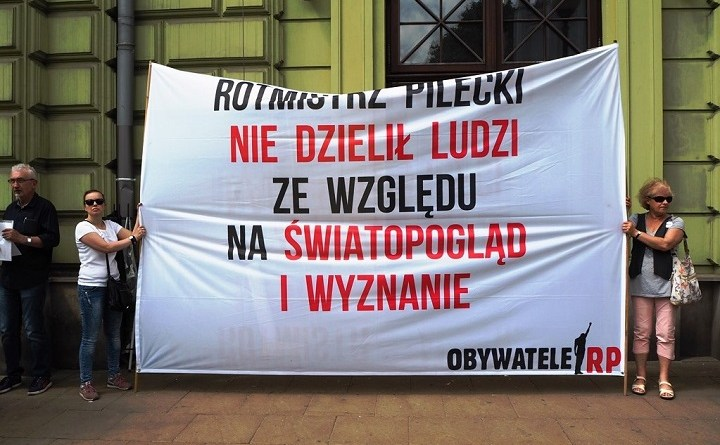 Pikieta upamiętniającą rotmistrza Pileckiego w Lublinie