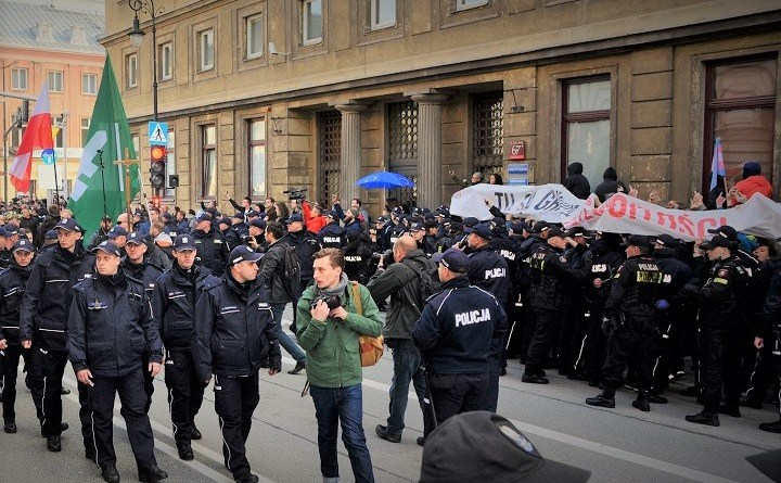 Próba blokady marszu ONR 29 kwietnia 2017