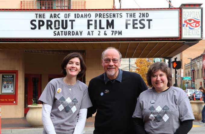Sprout Film Festival Anthony Di Salvo with Nicole Lang, Director of Programs, and Lisa Cahill, Executive Director, of The Arc of Idaho at The Arc & Sprout Film Festival in Boise, Idaho.