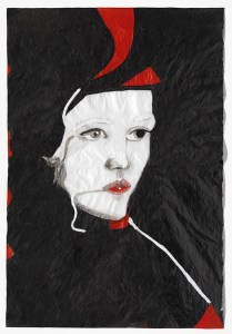 Red Queen, En la Casa del Léon series, 2011. Ink and acrylic on tracing paper/Tinta-da-china e acrílico sobre papel esquisso, 146 x 99,5 cm.