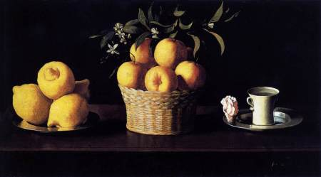 Francisco de Zubaran_Lemons oranges cup and rose_1633