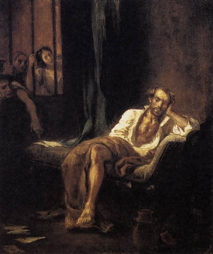 Eugène Delacroix 'Tasso in the Hospital of St Anna at Ferrara' , 1839, Oil on canvas