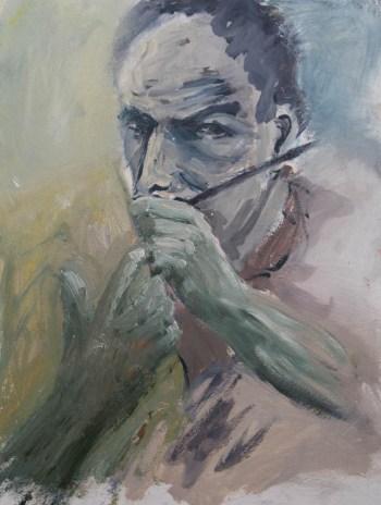 Stefan513593 - daily self-portrait #7: oil on paper (40x30cm)