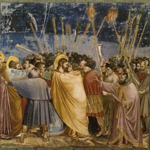 Giotto (1304 - 06) Scenes from the Life of Christ: La Cattura di Cristo (bacio di Giuda), [Fresco]