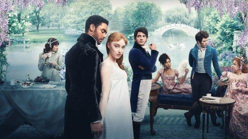 Netflix marketing image of the TV show Bridgerton. A bunch of fancy people looking fancy.