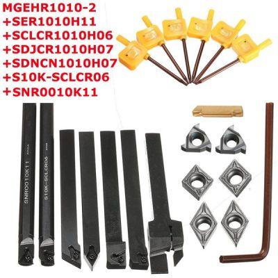 [:pt]Ferramenta para torno 7 unidades 10 mm haste Torno o porta ferramenta barra de perfuração com pastilhas de metal duro[:]