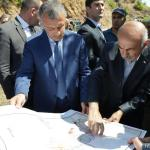 Bibilov checks South Ossetian reference map (Tsnelisi) and situation of South Ossetian reference map, source of the territorial dispute..