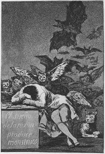 Francisco Goya's Sleep of Reason Produces Monsters, part of his satirical work Los Caprichos. This drawing was produced sometime between 1797 and 1799.
