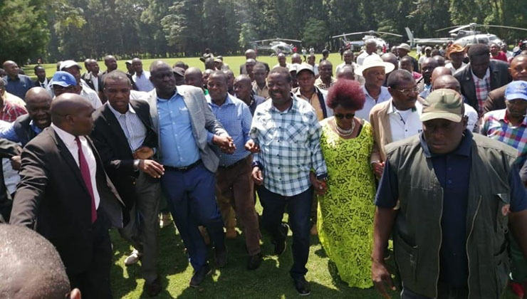 File image of Musalia Mudavadi, Omboko Milemba, Moses Wetangula and other Western Kenya leaders when they made a surprise visit to the BBI rally at Bukhungu Stadium in Kakamega County