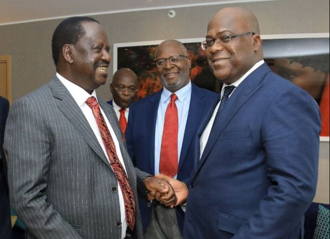 AU envoy Raila Odinga with DRC's President Tshisekedi.