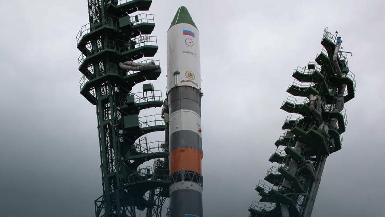 Rosyjska rakieta Sojuz tuż przed startem