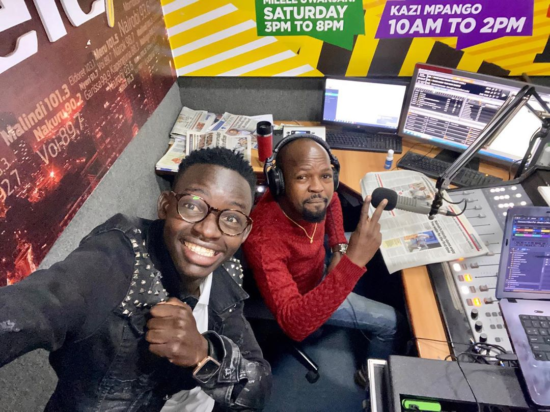 MCA Tricky shows up at Milele FM studios as he gears up to join Alex Mwakideu (Photo)