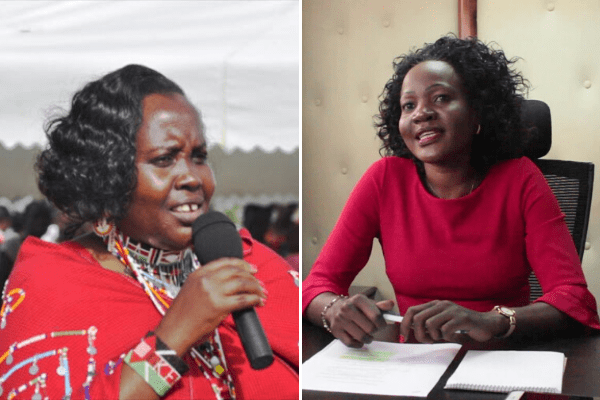 Nominated Senators Mary Seneta and Beatrice Kwamboka who engaged in a fight during Senate Health Committee elections