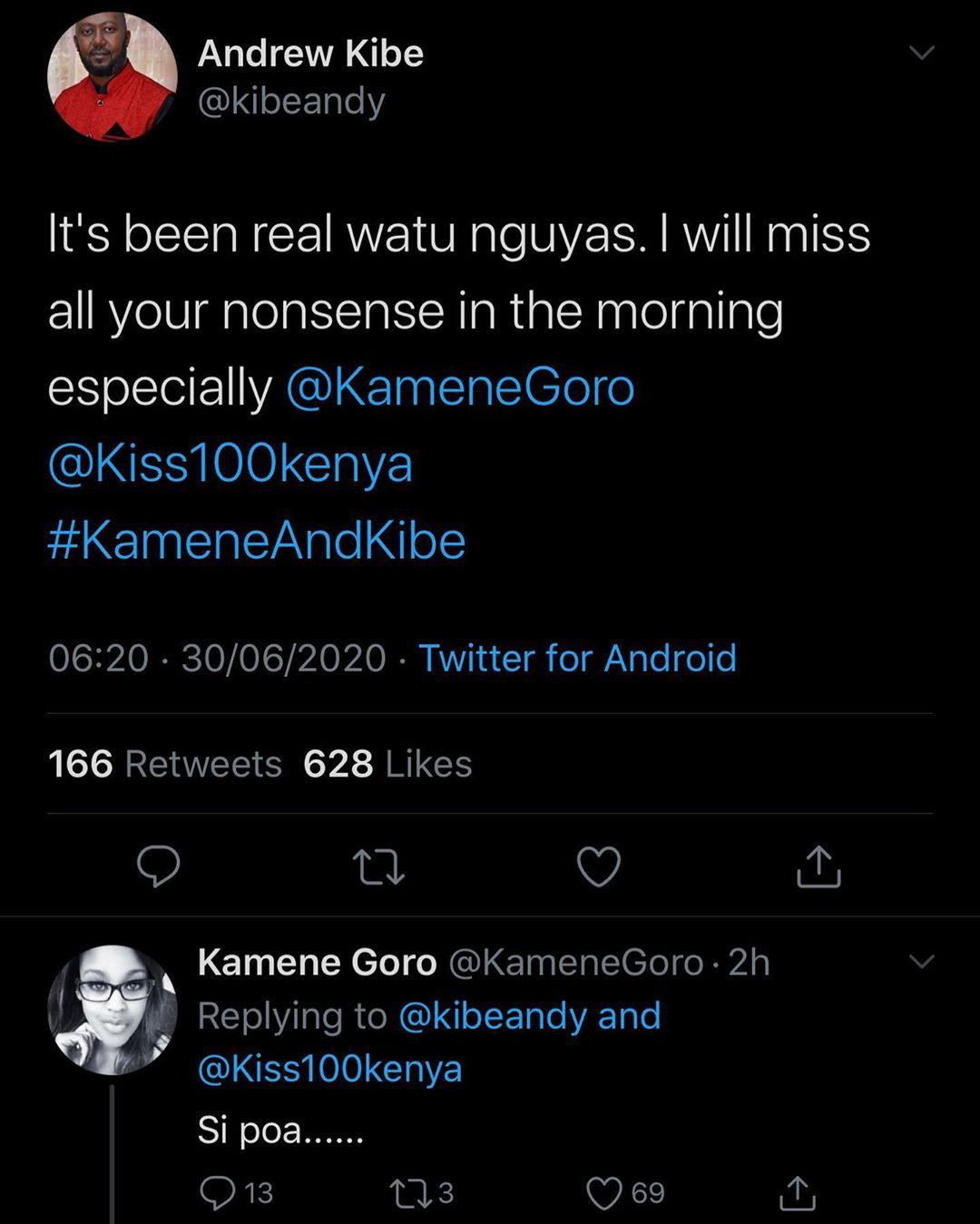 Kibe's tweet
