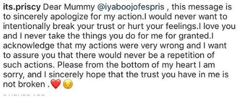 Iyabo Ojo's daughter tries to regain her trust after hanging out at a strip club