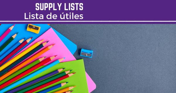 supply lists   Listas de útiles