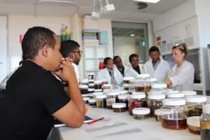 Découpage et conditionnement des échantillons de sediment au laboratoire, avec Anna Lafratt.