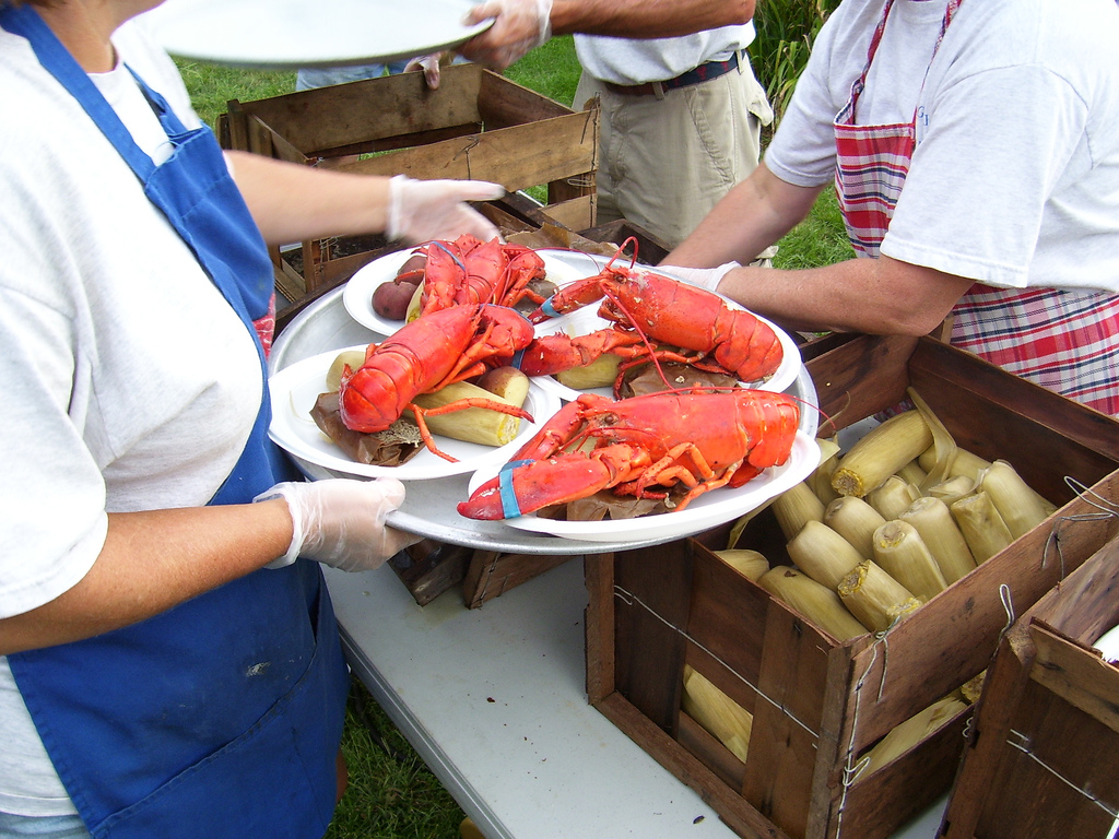 plates of lobsters