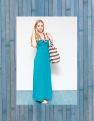 Organic Cotton Maxi Dress with Striped Beach Tote