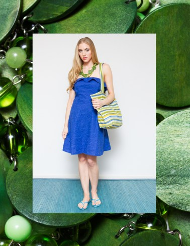 Embroidered Linen Dress with Ruffle and Striped Beach Tote