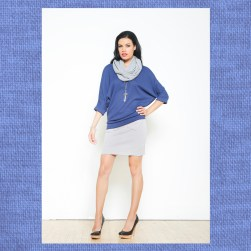 Ocean Avenue Berry Purple Sweater with Grey Twill Skirt and Infinity Scarf
