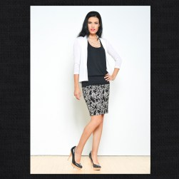 Ocean Avenue Black Floral Pencil Skirt, Black Bamboo Tank and White Cardigan
