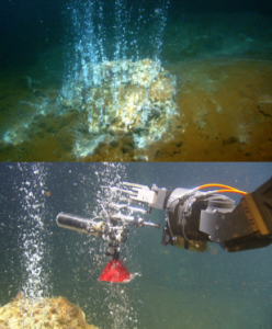 Figure 2. Top: Carbon dioxide- rich gas being discharged from massive sulphide chimney 500 meters below the sea surface in Kolumbo crater. Bottom: ROV collecting gas samples in titanium gas tight bottle.