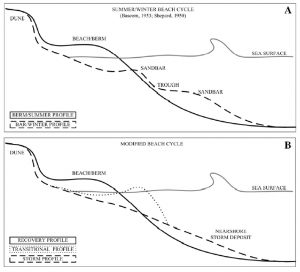 Figure 6. The classic beach cycle summer / winter profile for a sandy beach (A) and the revised beach cycle recovery / transitional / storm profile of an MSG beach (B).