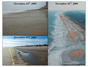 Figure 5. Short-term post-Nor'Ida recovery.  Within days, the formation of a discontinuous sediment ridge (red arrow) is evident.  By one month a continuous ridge has been welded to the beach (yellow arrow).