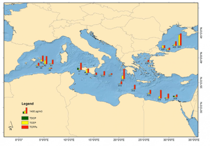 Figure 1: Distributions of the three most toxic OPEs throughout the Mediterranean and Black Seas.