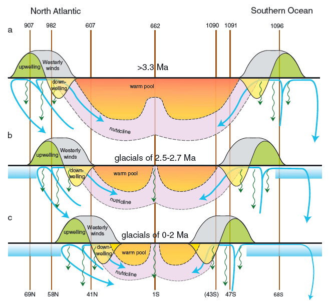 Figure 3. Conceptual model showing a northern to southern hemisphere transect at three time instances: Pliocene (>3.3 Ma), Pleistocene transition (2.7 - 2.5 Ma) and Modern (2 - 0 Ma).
