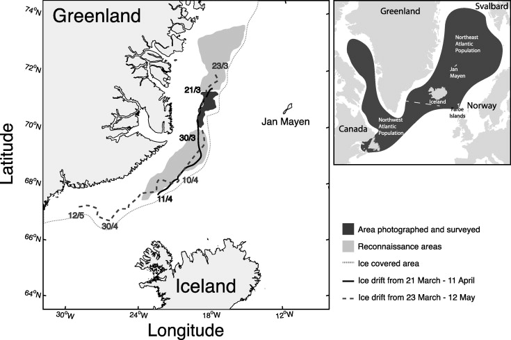 Figure 1. Area covered by photographic survey over seal whelping patches on March 28 and areas covered by reconnaissance flights conducted by air-crafts (22 March-1 April) and helicopter (18 March -1 April).  Ice drift in the Greenland Sea during the period 21 March-11 April and 23 March-12 May, as observed from two satellite based GPS beacons deployed on the ice (Oigard et al. 2014).