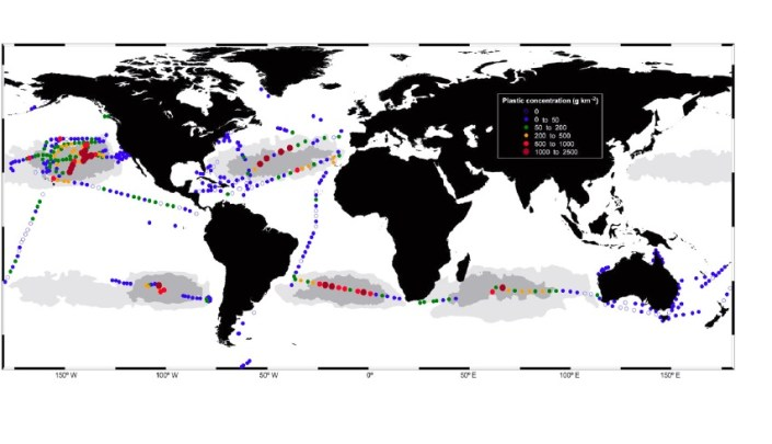 Fig 1. Distribution of plastic debris in the global ocean (from DOI: 10.1073/pnas.1314705111).