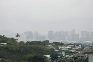 Vog in Oahu.  Photo courtesy of starbulletin.com