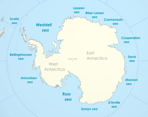 Figure 1. Continent of Antarctica comprising of West and East domains and numerous seas. [Source: Wikipedia.en]